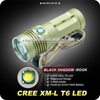 BLACK SHADOW Rook  Flashlight 3 Mode LED Flashlight CREE XM-L LED 1000 Lumens by 3x14500 Battery Waterproof Hiking Camping Torch