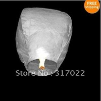 50PCS/lot  Pure White color only Wishing Lanterns KongMing Lantern Flying Light Chinese Wish Light Flame Sky