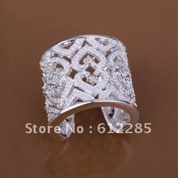 Free shipping 925 sterling silver jewelry ring fine fashion heart crystal opening adjustable ring wholesale and retail SMTR106(China (Mainland))