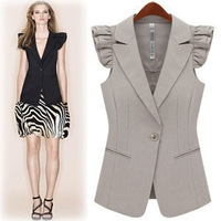 Free shipping Thin fashion slim long design suit vest white black 140,vest women,waistcoat