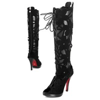 Free shipping! 2012 summer latest lady&#39;s fashion hollow out boots,black thin heel shoes
