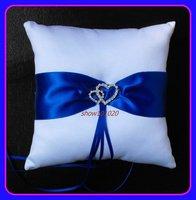 White Satin Wedding Ring Cushion With Blue Ribbons/Bridal Pillow