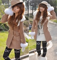 Британский стиль осень Виктория персональной лацкан большой мыс шерсть пальто женщин верхняя одежда Мода куртки