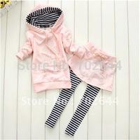autumn/spring baby girl's long sleeve hoodies coat+skirt pants 2pcs casual suits set,(4pcs/lot)