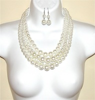 Multi Strand Cream White Pearl Bead Necklace Set!