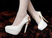 Free Shipping Ladies Fashion Party High Heels High Platform Stilettos Metal Chain Pumps High Quality Wedding Shoes 108-10