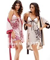 NWT spaghetti strap red silk satin women's sexy 2 pc wrap pajama strap belt print floral bath night sleep gown robe set 8097