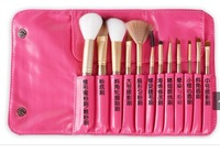 12Pcs PRO MAKEUP BRUSHES/BURSH SET GOAT HAIR red beige blue Bag Leather Pouch NEW + FREE SHIP