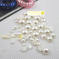 Free shipping!12mm,2000pcs/lot white pearls plastic round flat back  pearls  half imitation
