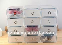 2012 hot sell plastic clear storage box drawer type with metal edging 10pcs/lot orange color(China (Mainland))