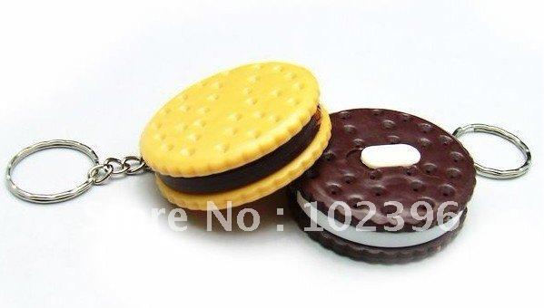 100pcs/lot Creative LED Gift Cookies Shape led light flashlight keychain creative practical key chain pendant(China (Mainland))