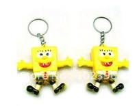 Hot Sale Spongebob Shape led light flashlight keychain creative practical key chain pendant 100pcs/lot