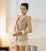 Women blazers Hign quality elegant slim shoulder pads Double breasted suit jacket+free shipping,Q808cn
