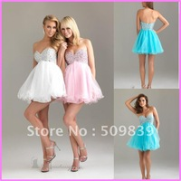 Free Shipping 30% Discount A-Line Sweetheart Full Beads Crystal Bodice Tulle Skirt Mini Homecoming Dress Cocktail Party  Gown