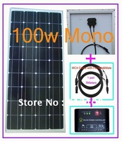 100w 18V DC Mono Solar Panel Charge For 12V DC Battery&System+120W 10A Regulator&Controller+5Meters&15FT Solar Cable,Water-Proof