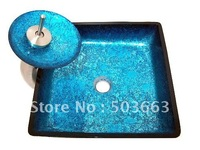 New Fashion Victory Hand Painted Blue Color Tempered Glass Sink With Match Brass Faucet CM0079