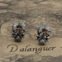 steampunk crystal skull skeleton stud earring