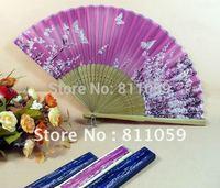 Free Shipping 100pcs/lot Hand held bamboo silk folding fan wedding favor,gift fan,craft fan