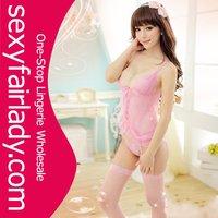 2012 sex mature women pink lingerie underwear with suspender