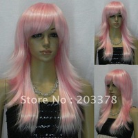New Pink Long Straight Wavy Cosplay women Wig 10pcs/lot  free shipping