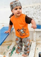 119 Retail free shipping baby boy's summer beach suits monkey printing color orange hat+tops+pants