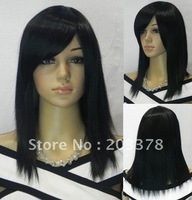 New Black Medium Long Straight Cosplay women's full wigs 10pcs/lot  free shipping