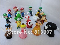 High Quality PVC Super Mario Bros Luigi Action Figures 18pcs/set youshi mario Gift OPP retail(China (Mainland))