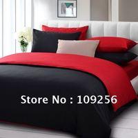 Free ship 100% Sateen cotton red+black color luxury bedding set / 4pcs duvet cover cotton plain solid color denim Fitted bedding