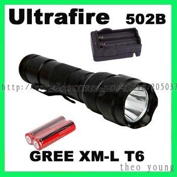 Ultrafire New 1000LM WF-502B CREE XM-L T6 5 Mode LED Flashlight + 18650 battery + Charger