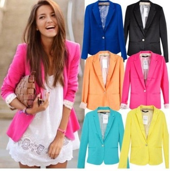Celebrity Style Women Candy Coloured Boyfriend Rolled Sleeve Blazer Suit Jacket Suit free shipping LJ088