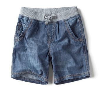Big children's clothing child denim shorts male child casual thin shorts belt