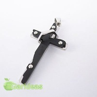 Free shipping +Wholesale  Stainless Steel Multi Black&Silver Ring Cross Chain Pendant Necklace New Cool Gift Item ID:3656