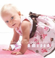 New summer Amissa baby girl Garment Cotton summer beach sleeveless Dress,5pcs/lot