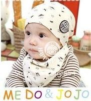 Hot sale !!! MZ#018  Korean PINEDOG baby hat bib  triangle towel 2pcs/set  /children cap baby hat set