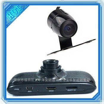 Dual lens car dvr registrars L3000 HD 1280*720P Video resolution dash recorder H.264 HDMI Rearview tail camera backup reversing