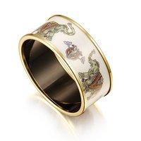 Precious Designer Extra Wide Printed Enamel Bracelet,Elephants Grazing Printed With Gold Plated Hardware,Vintage Enamel Bracelet