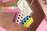 Free shipping Cool and refreshing feelings for colorful dots/ball designed false nails round nail tips 24pcs./set with glue