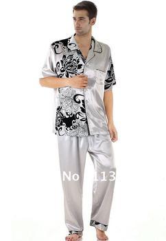 NWT men's silk satin pajama sets for men 2 piece white short skirt lounge Pants sleepwear shirt sleep night gown robe sets 6060