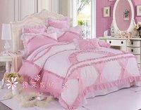 120388   100% cotton Romantic girl bed/ Cotton bedding / girls Supplies / pink /bedding set
