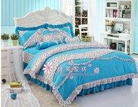 120389 100% cotton / girls Supplies / pink /bedding set/Romantic girl bed/ Cotton bedding /blue