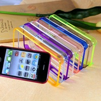 Freeshipping 100pcs/Lot Dual Colors TPU Sides PC Plastic Middle Bumper Case Bumpers for iPhone 4 4G 4S
