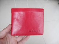 100% GENUINE LEATHER women SHORT THIN wallet,fashion lady red purse Free Shipping W11