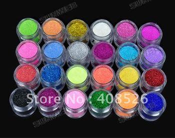 2 SETS/LOT Wholesale Women's Make up Shiny Nail Glitter Nail Art Tool Kit Acrylic UV Powder 24 Colors Free Shipping 5838