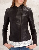 New Short Leather Jacket Coats Women 2 Colors 8614