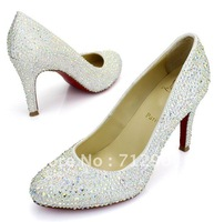 Free shipping 2012 hot sale lady rhinestone sexy heels shoes crystal pumps,Women high quality Cheap Med Spike Heels,Silver,8CM