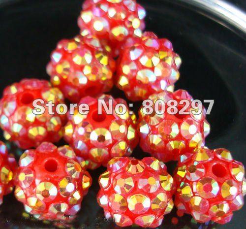 Rhinestones 12,14,16mm Red Resin Acrylic Spacer Beads Gift Jewelry Finding(China (Mainland))