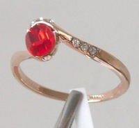 Fashion Ring.Free shipping.Garnet  &White Topaz 18K GP Rose Gold Lady's Ring.Style free collocation.3 a favorable price.