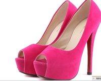 Free Shipping Women 2012 Fish Mouth Flock Colors Sexy High Heel Shoes Women /Ladies Fashion Pump Shoes Drop Ship Size:35-39 L307