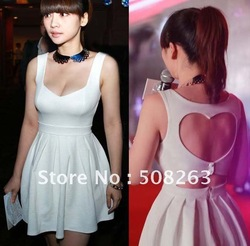 Free Shipping 2012 fashion wholesale Sexy Heart Open Back Cocktail Party Slim Mini Dress dresses red and white(China (Mainland))