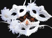 Free ship Masquerade party mask Venice t Snow White mask white 22 g/ pcs , 5  pcs/lot , white color